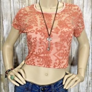 Pins And Needles Large Melon Embroidered Crop Top